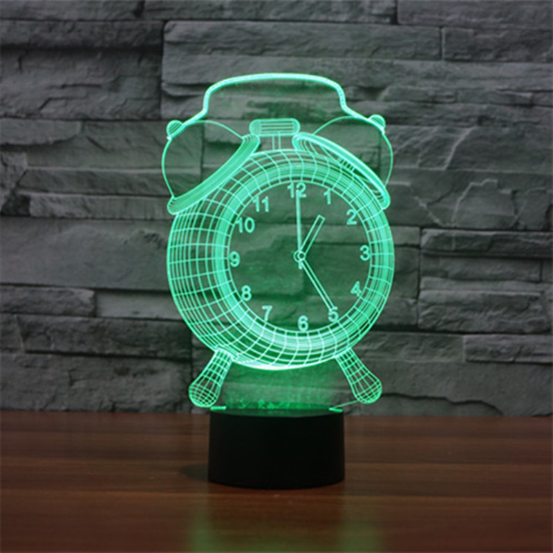 Night light Kid gift 3D Alarm Clock light 7 Color Change lamp Mood Bedroom Hotel led light Novelty luminaire touch Night Lamp