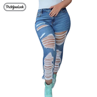 Pickyourlook Plus Size Women Jeans Hole Skinny Pencil Pants High Waist Jeans Woman Casual Spring Solid Large Size Femme Trousers