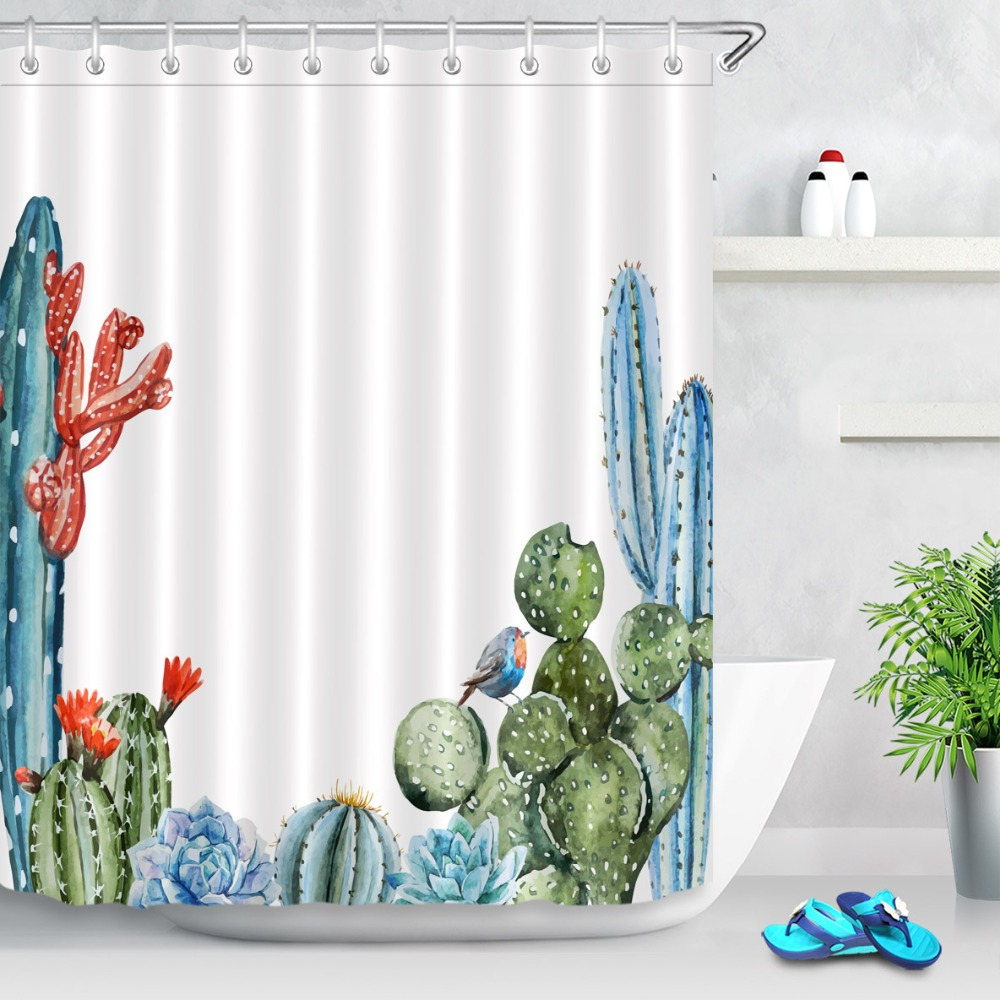 Watercolor Cactus Frame Shower Curtain Set Polyester Fabric Bathroom Accessories