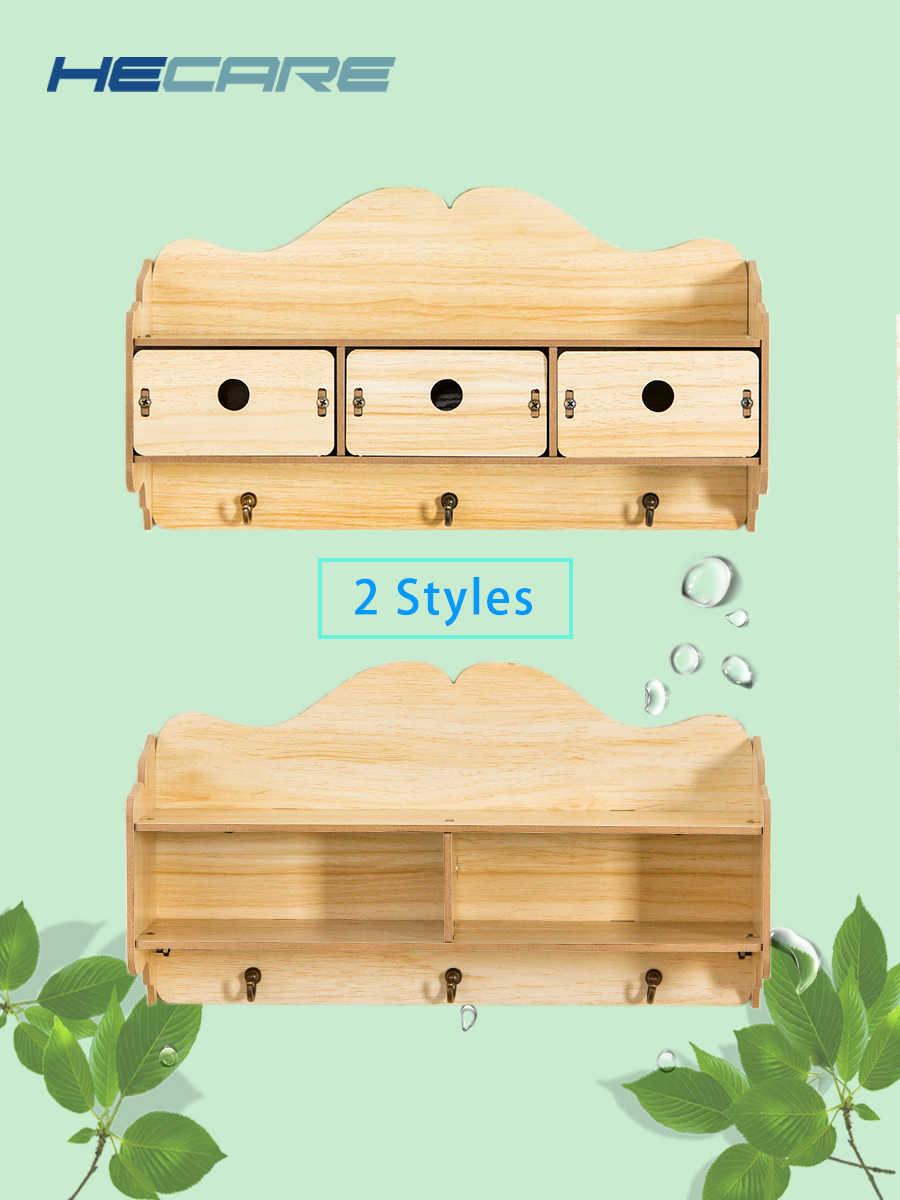 HECARE 2 стиля доступны для дома или офиса, декоративные настенные полки деревянные полки для хранения стеллаж с крючками деревянная вешалка на дверь 2019