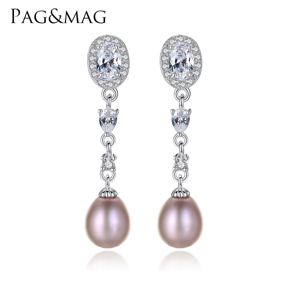 PAG&MAG Luxury Freshwater Women Long Earrings 925 Sterling Silver Wedding Jewelry Earrings for Bridals Factory Wholesale