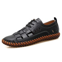 New Men Genuine Cow Leather Sandals Outdoor Summer Handmade Men Shoes Men Beach Breathable Casual Shoes Footwear Walking Sandals все цены