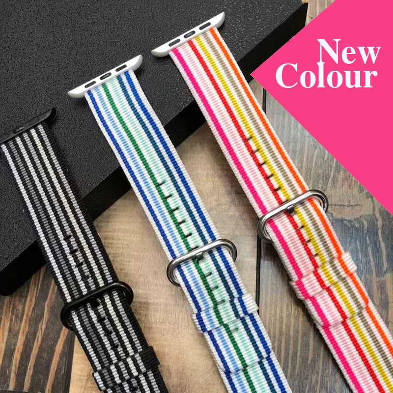 New Pink striped woven nylon strap for Apple watch series 2/3 replacement bracelet strap watchband for iWatch 42mm 38mm bands