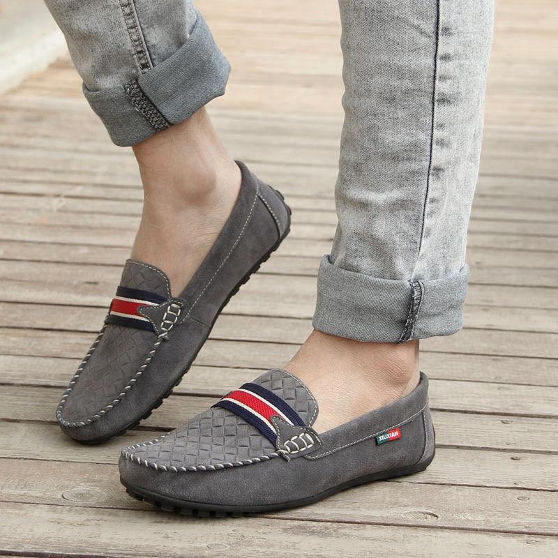 Daim Hommes Naturel Mocassins Nouvelle Doux Blue En gray Glissement Conduite Chaussures Casual red JFclK1T3
