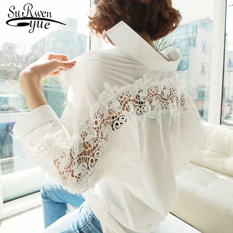 fashion womens tops and   blouses   2019 backless sexy Hollow Out Lace   Blouse     Shirt   Ladies solid White office   blouse   women 1310 40