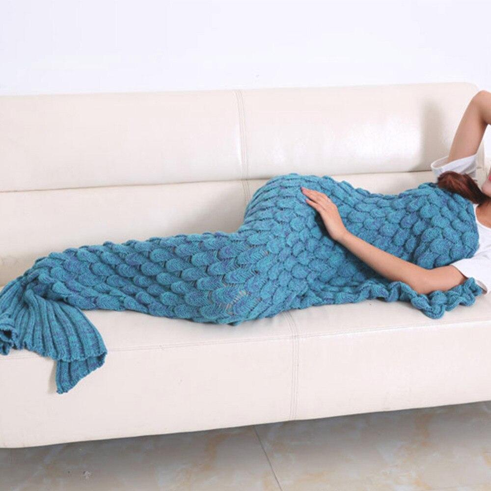 Fashion Handmade Knitted Mermaid Tail Blanket Keep Warm