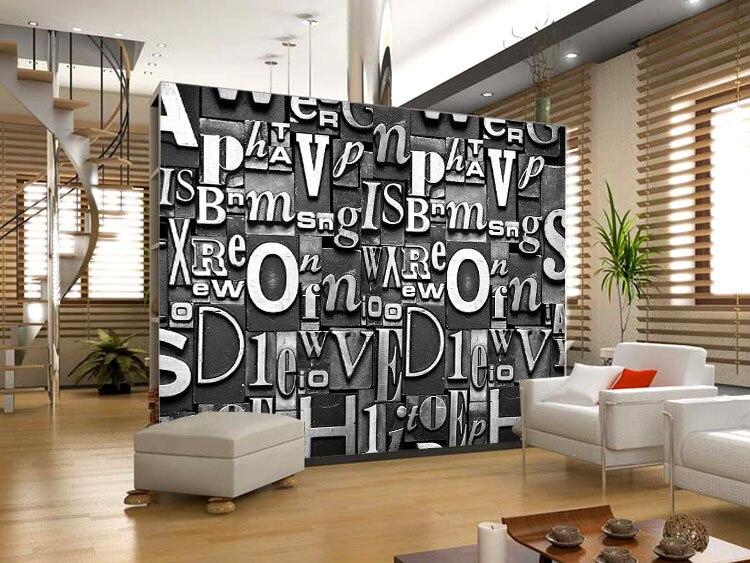 US $16.19 40% OFF 3D Buchstaben tapete Europäischen Vintage Style  Benutzerdefinierte Großen Wandbild wohnzimmer Schlafzimmer KTV Sofa  hintergrund ...