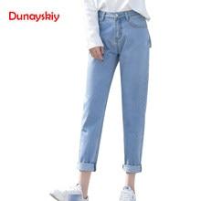 19b36198c61f21 Dunayskiy Jeans Mujer Plus Size A Vita Alta In Denim Jeans Donna Fidanzato  Sciolto Lavato I