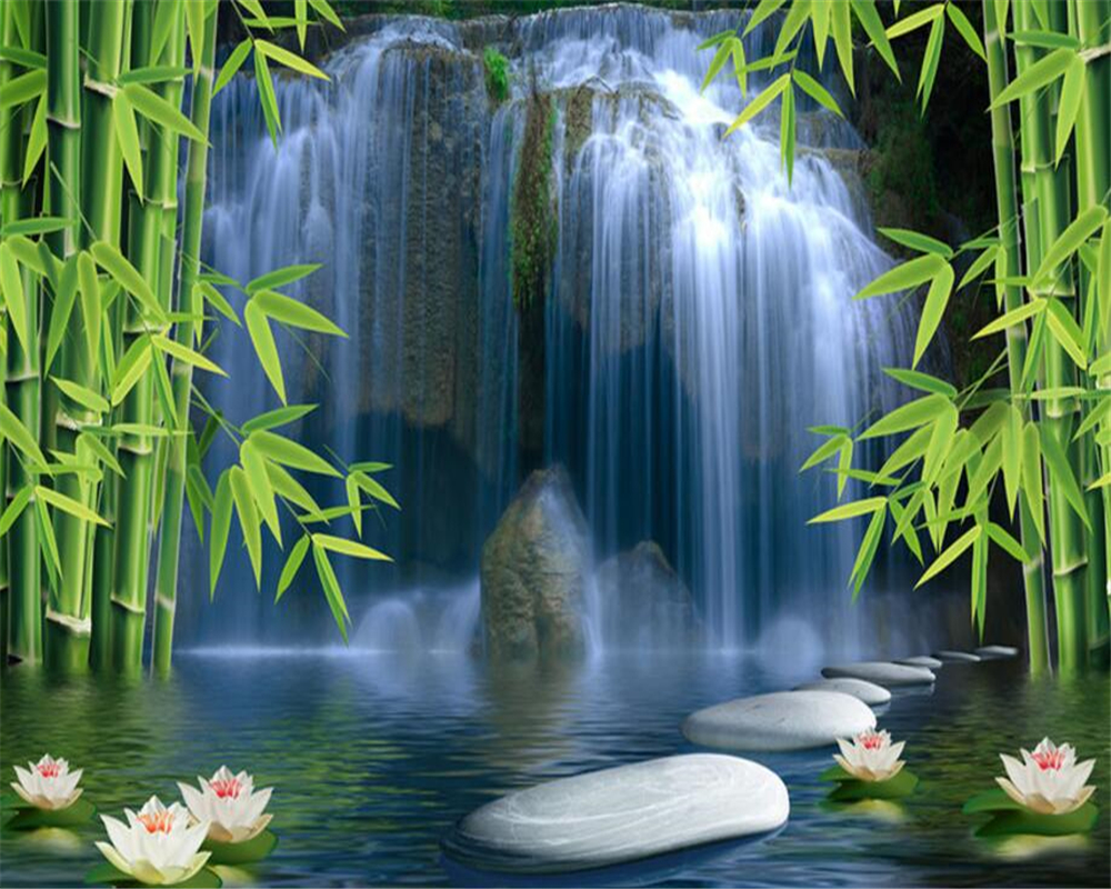 Купить с кэшбэком beibehang wall paper home decor Bamboo forest waterfall background wall decoration painting space  lotus 3D wallpaper mural