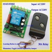 Sans fil Commutateur d'éclairage De la Télécommande Système 220 V 30A 3000 W Récepteur Émetteur 315/433 lumière/Lampe LED pompe à eau applicance