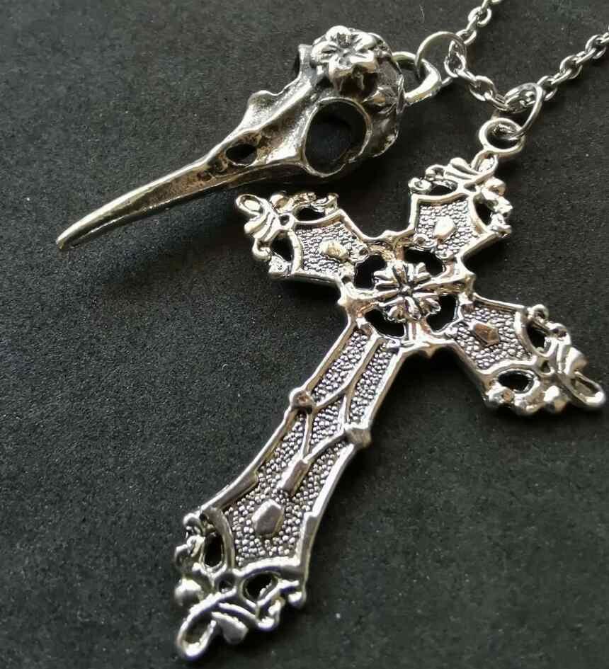Cross & Skull Birds Head จี้ Charms สร้อยคอสร้อยคอ - Wicca Pagan Goth เครื่องประดับ ~ คริสต์มาสของขวัญ