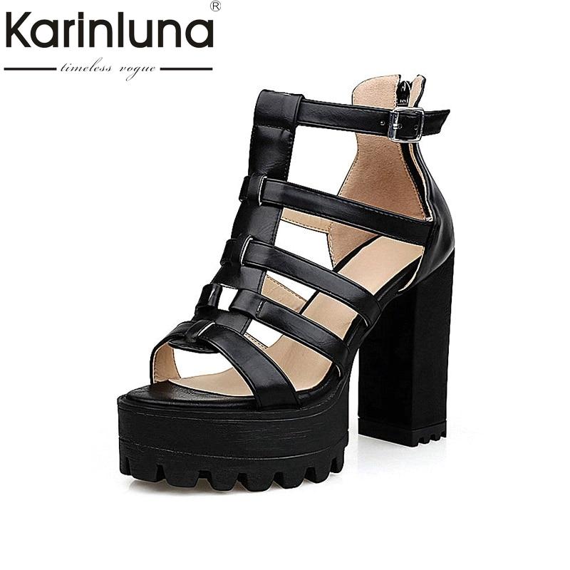 2017 Summer Fashion White Platform Women Sandal Shoes Super High Square Heels Gladiator Shoes Big Size 34-43 women summer flock lace up high heels shoes fashion fashion rome style big size 40 41 42 43 lady sandal 1111