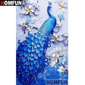 HOMFUN 5D DIY Embroidery Cross-Stitch Gift Animal Diamond Home-Decor Painting-Peacock-Full