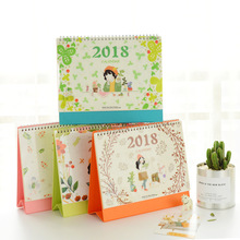Cute cartoon desk calendar 2017 2018 Two year desk calendar weekly planner give stickers Many styles kawaii(China)
