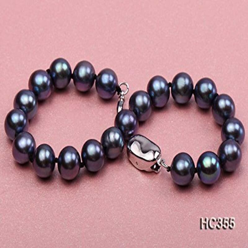 JYX Bracelet en perles naturelles 8-8.5mm AAA rond bleu Bracelet en perles d'eau douce 7.5