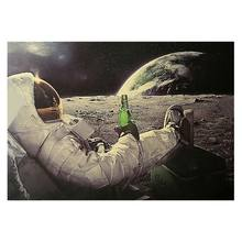 Astronaut on the Moon Relaxing with Beer Retro Fantasy Kraft Paper Poster Home Decor Art Wall Sticker Paster(China)