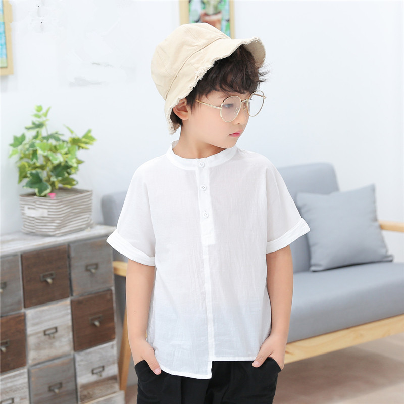 2018 Brand Summer Boy Short Sleeve Linen   Blouse     Shirts   For Boy To School   Blouses   Children Clothing Kid Perform   Blouse   Hot