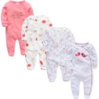 Kavkas Baby Girl Clothes 4 pcs/lot Long Sleeve Summer Cotton roupa de bebes 0 3 6 9 12 Months Baby Pajamas