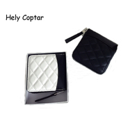 Hely Coptar 2Colors Genuine Cow Leather Black White Patchwork Fashion Women Short Wallet With Zipper