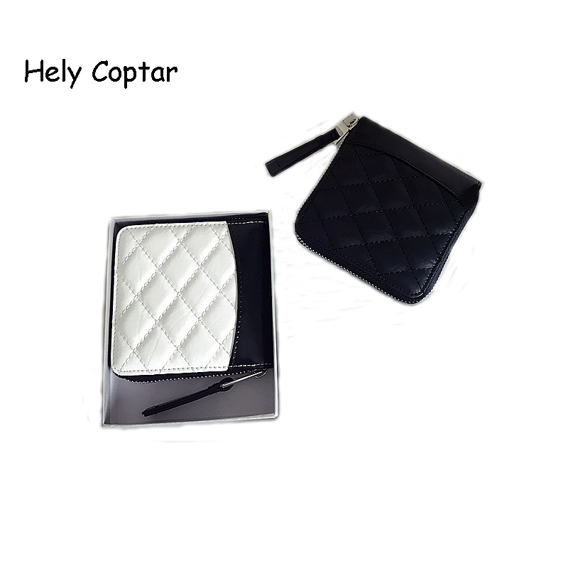 [Hely Coptar] 2Colors Genuine Cow Leather Black White Patchwork Fashion Women Short Wallet With Zipper 2018New Diamond lattice пуф patchwork colors
