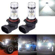 2pcs HB3 HB4 9005 9006 100W 20LED White Headlight Bulbs Kit Fog Driving Light Super Bright Auto Bulbs