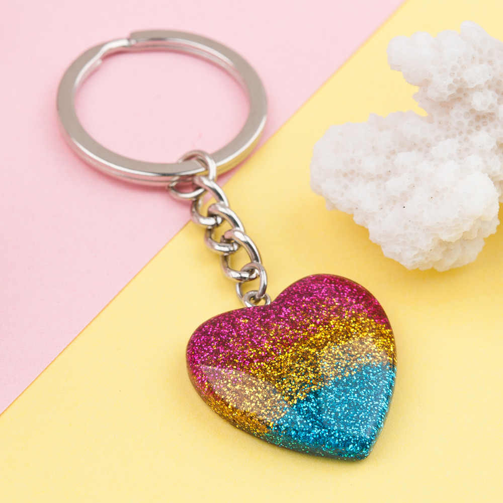 Doreen Box Resin Keychain & Keyring Heart Multicolor Glitter Key Chains New Fashion Cute Romantic 8cmx 3cm,1Piece