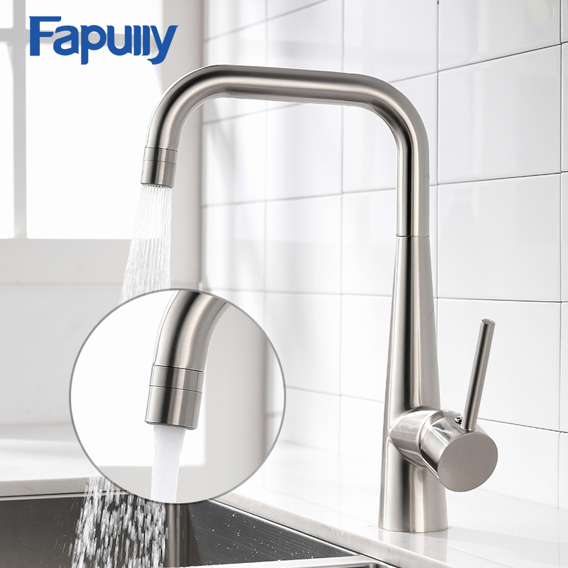 Fapully Kitchen Sink Faucet Single Handle Black Nickel Brass Taps 360 Rotate Swivel Hot Cold 2