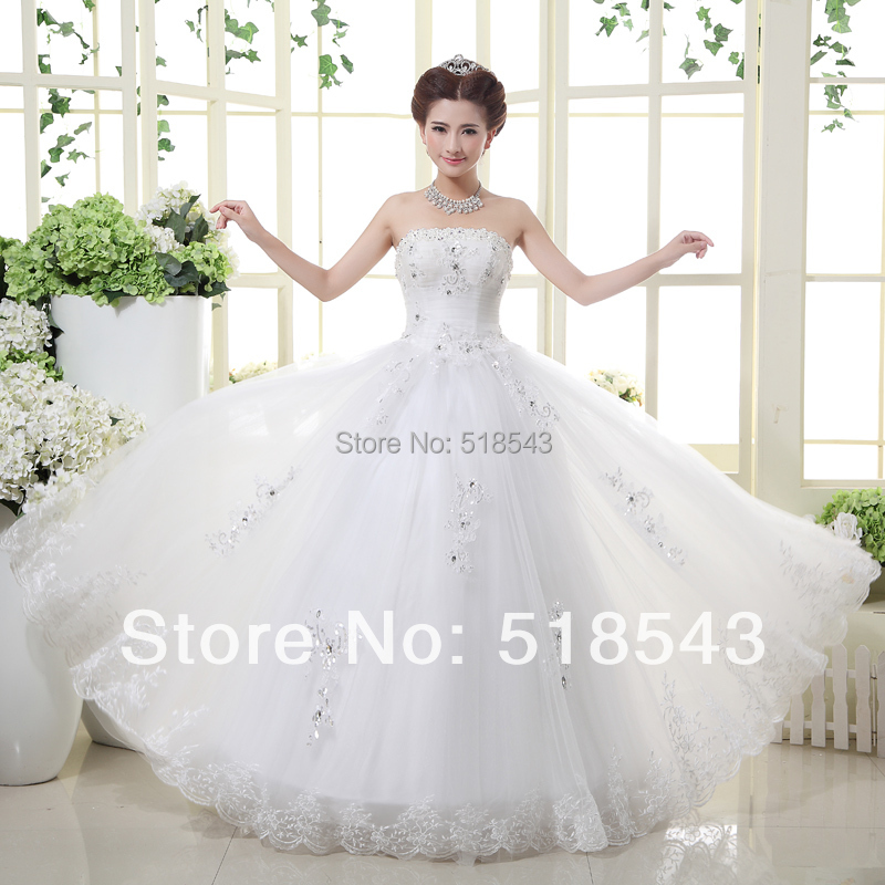 Latest Wedding Gowns 2014: 2014 New Arrival In Stock Bandage Lace Bride Dress