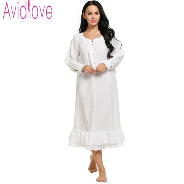 facdf576a4 Avidlove Stylish Cotton Sleep Dress Women Long Sleeve Night Dress Sleepwear  Autumn White Dress Nightgown Solid