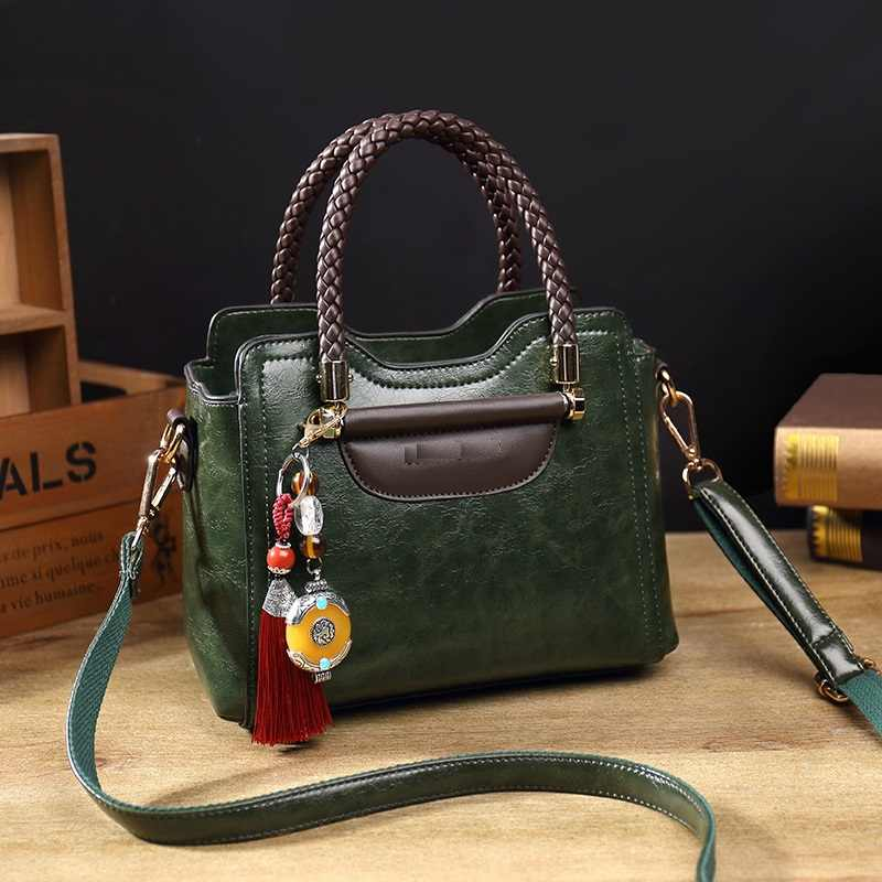 Vintage Genuine Leather Casual Tote Bag Handbags Women Bags Famous Brand Retro Shoulder Bag Oil wax Messenger Bag sac a main T54