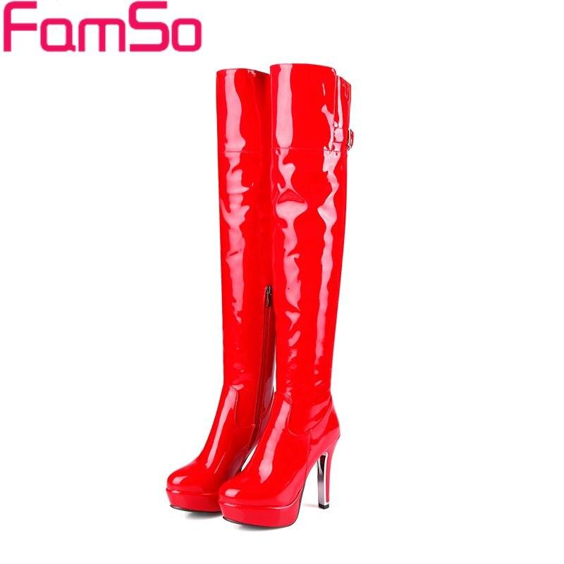 Sur De Genou red D'hiver Verni Sbt4408 Bottes En Noir Cuissardes Sexy 2017 Chaussures Rouge Famso La Neige Cuir 34 Black 43 Femmes Taille VpSMUzGq