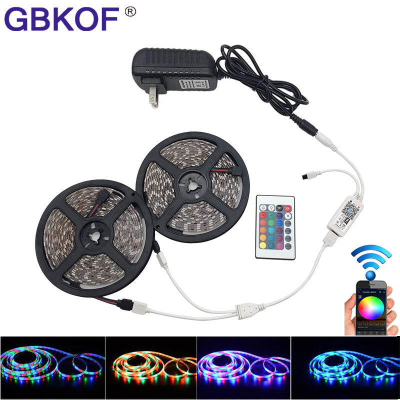 5M 10M RGB led SMD 2835 3528 5050 LED Strip Light wifi led stripe flexible neon ribbon Waterproof led tape diode DC 12V adapter hbl led strip 2835 5m 10m rgb led strip light 15m 20m 3528 smd led ribbon flexible led tape non waterproof 12v adapter full set