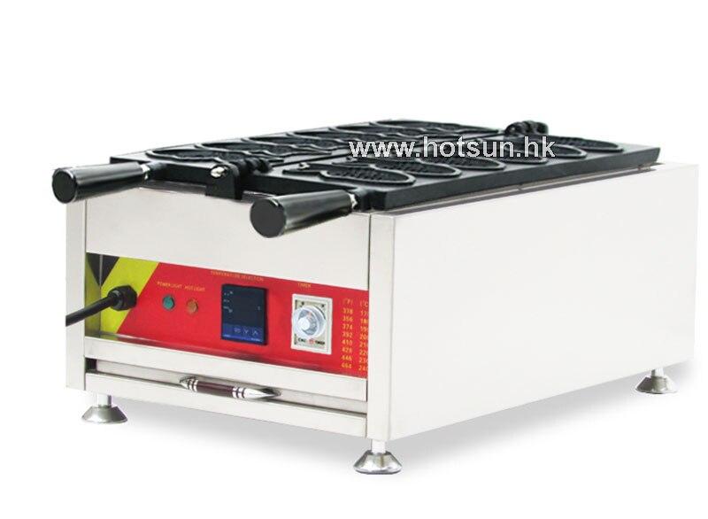 Commercial Non-stick 110v 220v Digital Electric 6pcs Taiyaki Fish Waffle Maker Baker Iron Machine commecial use non stick 110v 220v electric belgium liege waffle iron baker maker machine