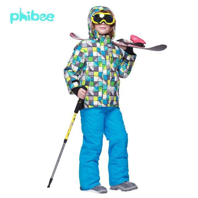 3151174a4d10 PHIBEE Winter Fleece Warm Ski Suit Boys Waterproof Mountain Skiing ...