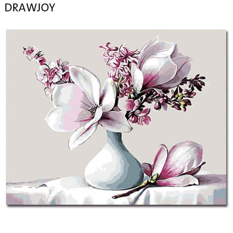 DRAWJOY Incorniciato Foto Painting By Numbers Pittura e Calligrafia Di Fiore Pittura A Olio di DIY Dai Numeri 40*50 cm GX8843