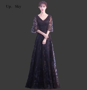 2018 Lace V-neck dress floor length wedding party dress elegant retro bridesmaid dress