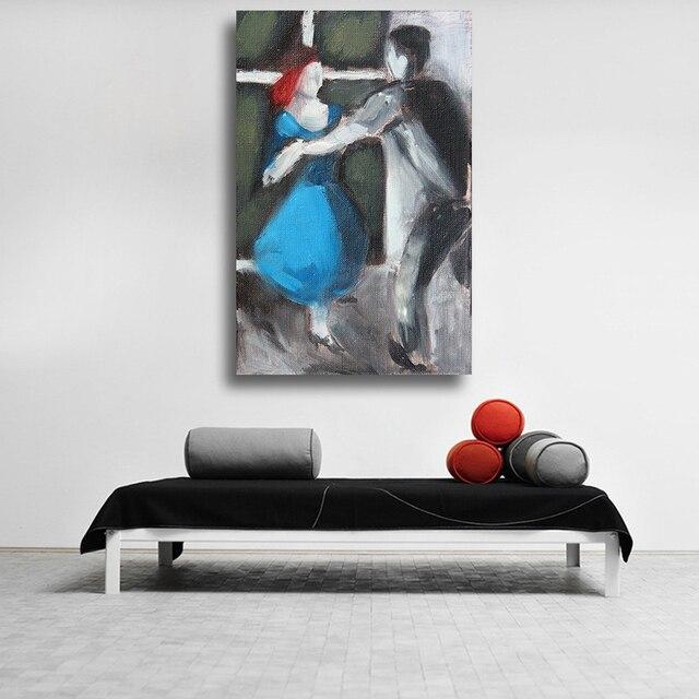 Qkart Fine Art Peinture À L'Huile Couple Apprendre Danse Abstraite D