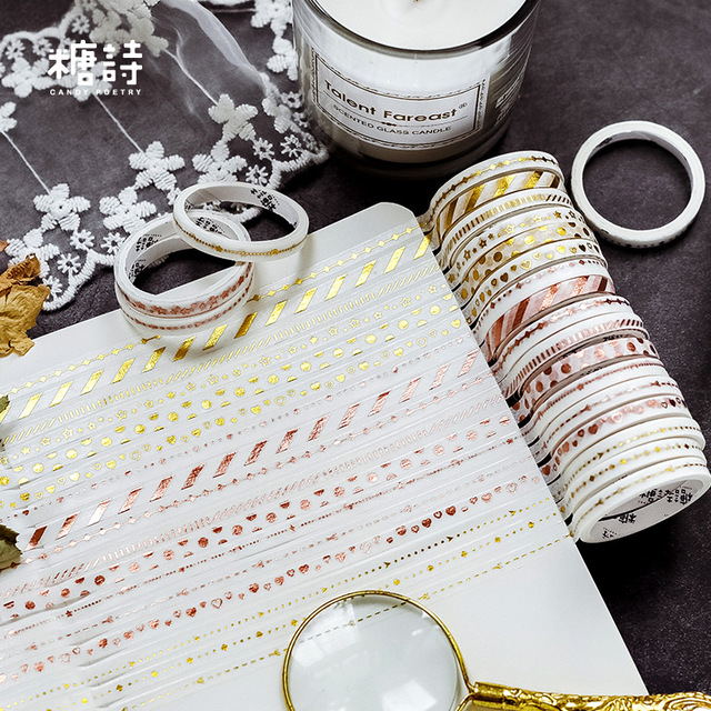 10pcs/set Black Foiled Washi Tape Japanese Paper DIY Planner Masking Tape Adhesive Tapes Stickers Decorative Stationery Tapes 2