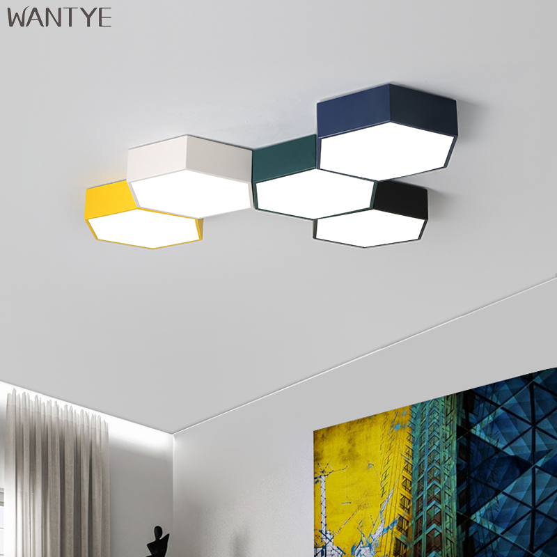 LED Modern Geometric Ceiling Light Lamps for Dining Living room Bedroom Home Lighting Fixtures Flush Mount with Remote Control cvd znse co2 laser focusing lens with diameter 18mm focus length 25 4mm thickness 2mm
