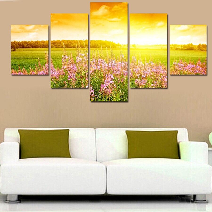 Unframed Flower Under The Sun Landscape Canvas Print 5 PC Wall Art ...