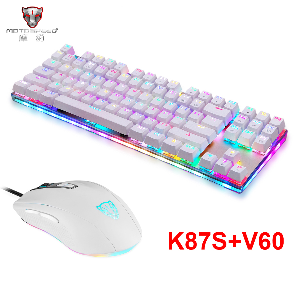 Motospeed K87S USB Mechanical Keyboard Blue Switches Gamer Keyboard with RGB Backlight for PC Computer,V60 Wired Gaming Mouse