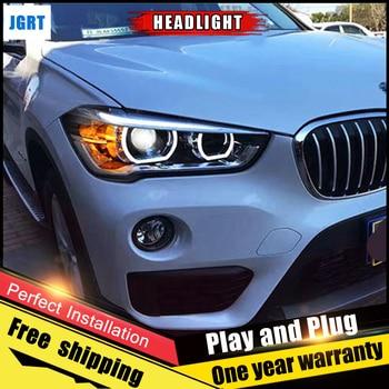 2PCS Car Style LED headlights for BMW X1 2016-2018 for X1  head lamp LED DRL Lens Double Beam H7 HID Xenon bi xenon lens