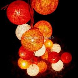 20 piłek/zestaw 3M pomarańczowy tone zachód słońca dekoracja świąteczna lampa/String bawełniana piłka Hallowmas Light