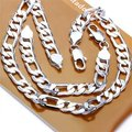 Free Shipping Wholesale Fashion Jewelry Set,12MM three one flat 2 Piece set,925 Sterling silver Necklace&Bracelet&Earrings T086