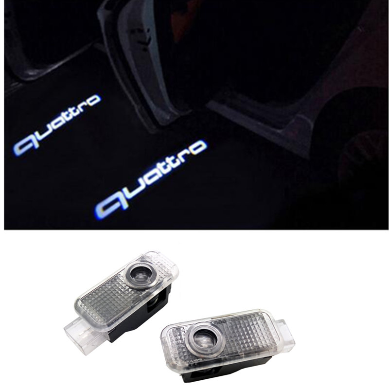 For Audi A3 A4 B6 B8 B7 A6 C6 C5 A7 A8 A5 Q3 Q7 Q5 80 TT S line RS S3 Quattro Car LED Door Welcome Light Projector Lamp Sticker