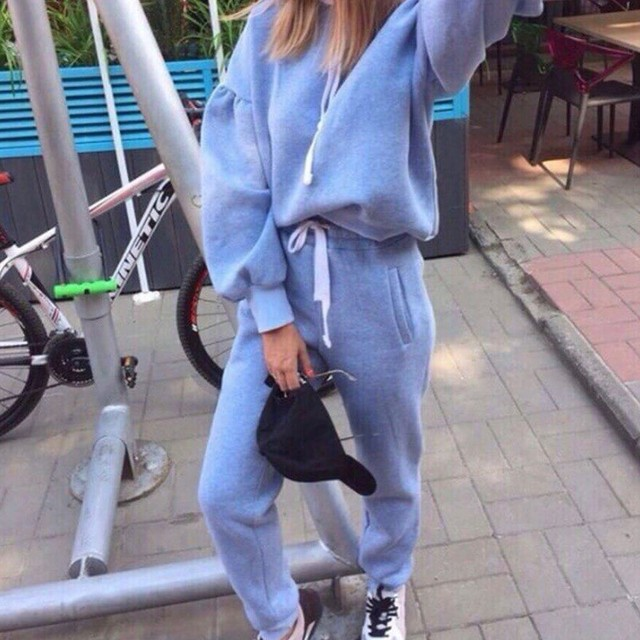 New Thicken Hooded Sweatshirts 2 Piece Casual Sport Suit Set 4