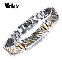 Health Energy Magnet Bracelet Bangle Men 316L Stainless Steel Bio Magnetic Bracelets Gold Plated Jewelry For