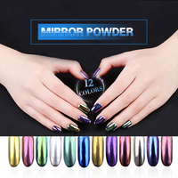 12pcs Magic Mirror Powder Pigment UV Gel Nail Chrome Pigment Glitters Mirror Effect Manicure Tools 2g