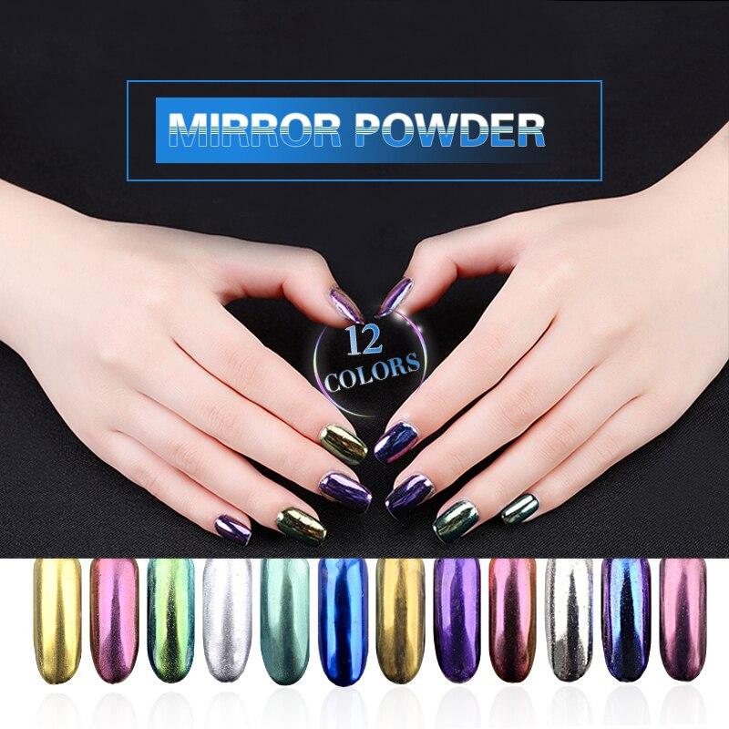 12pcs Magic Mirror Powder Pigment UV Gel Nail Chrome Pigment Glitters Mirror Effect Manicure Tools 2g