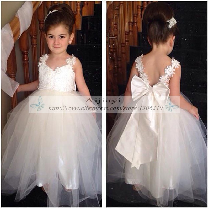 White Appliques Lace Cheap Flower Girl Dresses For Wedding Custom Ball Gown Tulle Beauty Little Girls Pageant Dress 2016 In From